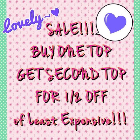 "✨BUY ONE TOPGET ONE 1/2 OFF!!!✨ ✨Buy one top and get the second top 1/2 off least expensive top!✨(limited time only)...❤️(PRICES ARE FIRM)❤️ ✨Please let me know which tops you would like to purchase and I will make you a separate listing! Please do not use the ""Bundle"" feature or the ""Offer"" button!✨ All Brands Tops Blouses"