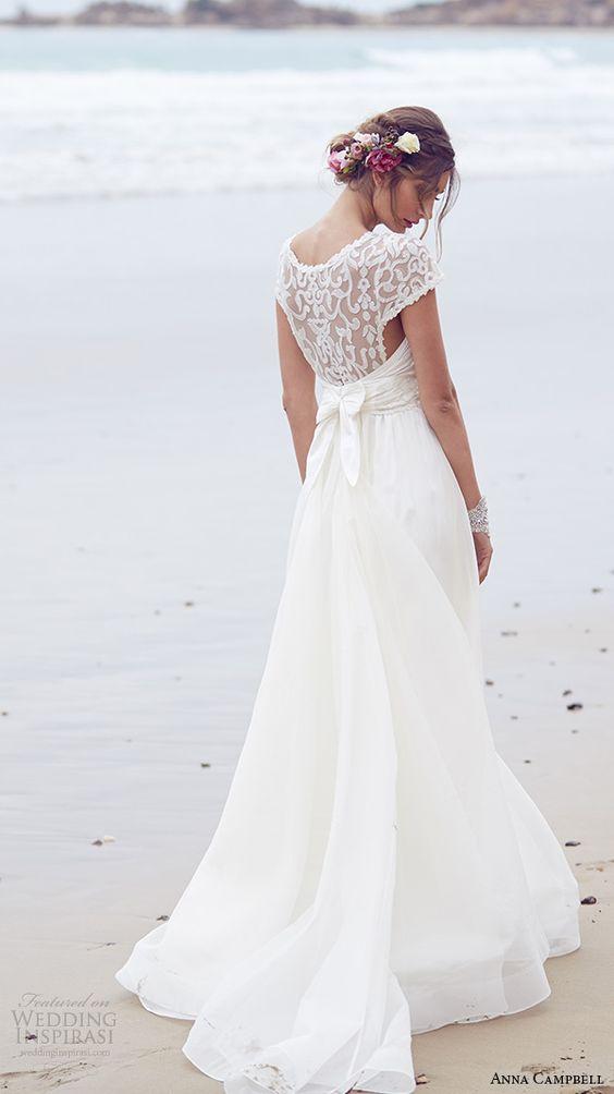 anna campbell 2015 bridal dresse cap sleeves jewel neckline illusion lace neckline pretty a line wedding dress scarlett back view
