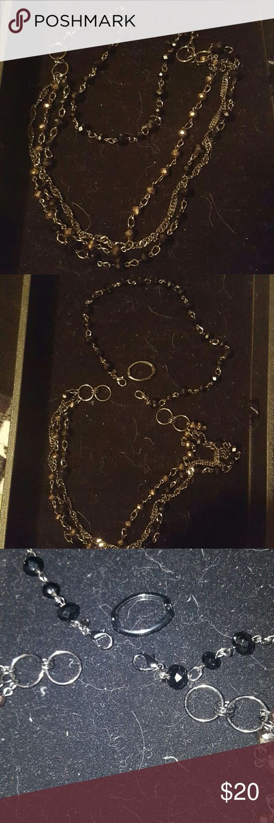 """Premier Designs """"Instant Style"""" Necklace Hematite plated 32"""" three strand necklace with glass beads double lobster claw closure. Comes with hematite plated clip it for more versatility. Premier Designs Jewelry Necklaces"""