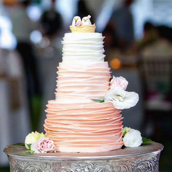 #Bolo #casamento #pombinhos #rosé #branco #lindo
