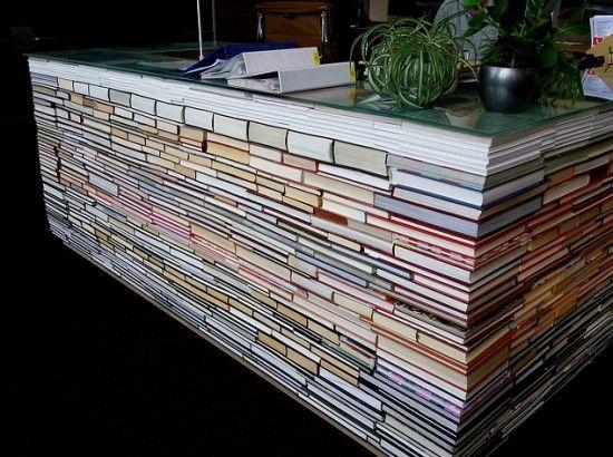 Desk made of books.