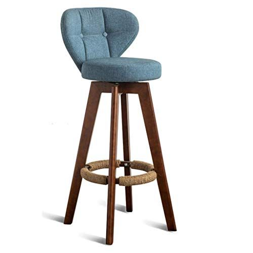 Gray Linen Cover Bar Stool Bar Chair Footrest With Backrest Seat Breakfast Stool Kitchen Chair Bar Bar Cafe Bar Stool Wooden Legs Lebao Color Living Room Stools