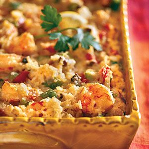 Cajun Shrimp Casserole Packed with veggies, Parmesan cheese, rice, and a cayenne pepper kick.