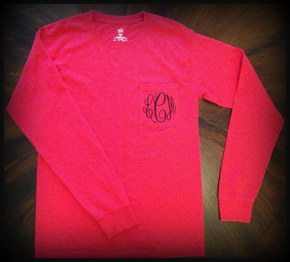 Monogrammed Long-Sleeve Pocket T shirt. $21.99, via Etsy.