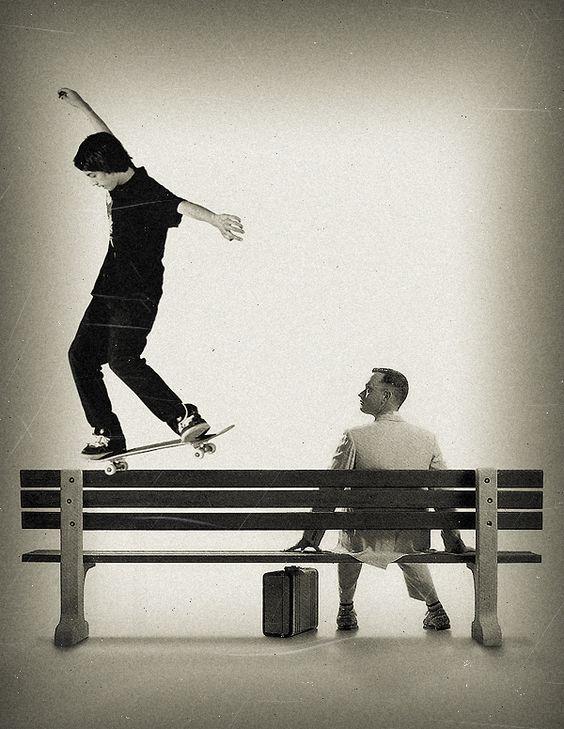ベンチとスケートボード