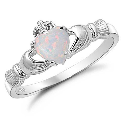 Sterling Silver Heart Shaped Lab Opal Claddagh Ring Size 9 Kriskate & Co.,http://www.amazon.com/dp/B0083LQPFW/ref=cm_sw_r_pi_dp_o0natb144H9GHGFV
