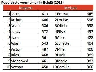 OVERZICHT. Dit zijn de populairste babynamen in ons land - Het Nieuwsblad: http://www.nieuwsblad.be/cnt/dmf20160907_02457538?utm_source=facebook