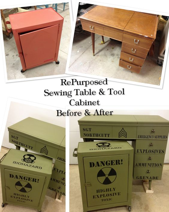 RePurposed dated sewing machine cabinet and rolling tool cart/cabinet. Now a Military themed desk and nightstand