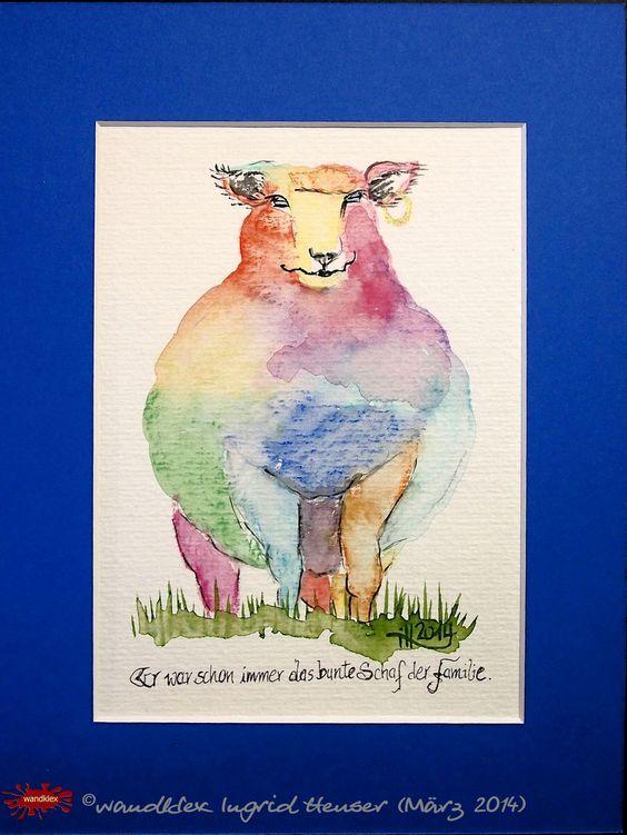 """No. 017 der wandklex-Unikatserie """"Ich war schon immer das Bunte Schaf der Familie"""" - nummerierte Einzelstücke! Ihr eigenes Schaf können Sie als Ihr Designerstück von wandklex® Ingrid Heuser, Ratzeburg, Germany bestellen:  im kleinen Klexshop bei DaWanda auf http://de.dawanda.com/shop/wandklex ©  Kunstatelier wandklex Ingrid Heuser, D-Ratzeburg Besuchen Sie mich auch auf facebook: https://www.facebook.com/wandklex"""