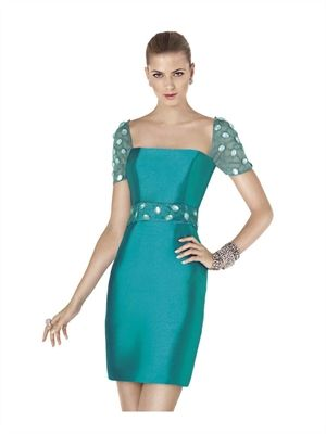 2015 Cocktail Dresses Green Short Crystals Satin Evening Gowns APR200383