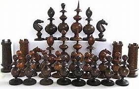 Fine Antique 1800's Victorian Killarney Yew Wood Chess Set ~ Complete ...