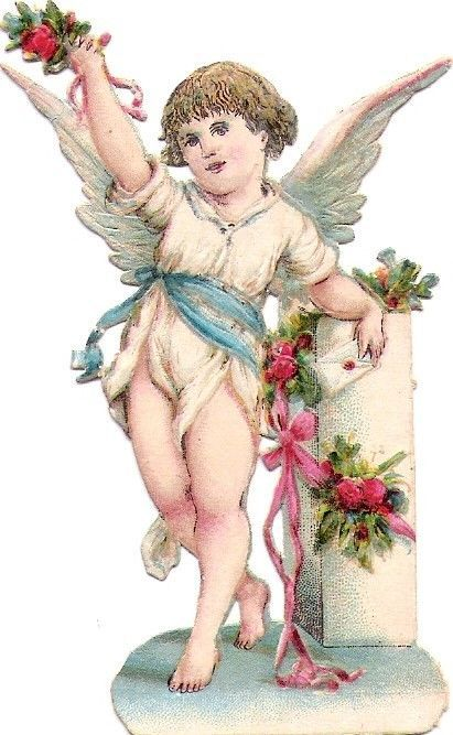 Oblaten Glanzbild scrap die cut chromo Engel angel cherub Brief Amor: