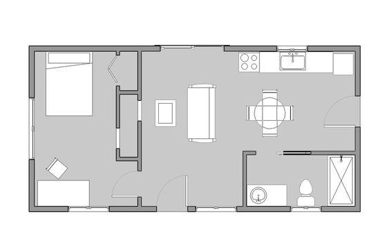 Floors floor plans and spaces on pinterest for 16x32 cabin floor plans