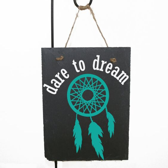 Buy Dare to dream - Dream Catcher - Slate - Primitive home decor, Dream Catcher saying, Dream Quote, Inspirational Quote, Girls Birthday Gift by levinyl. Explore more products on http://levinyl.etsy.com