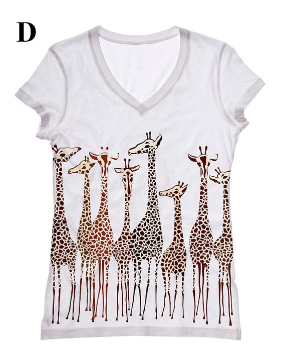 Hey, I found this really awesome Etsy listing at https://www.etsy.com/listing/112809546/women-giraffe-print-topst-shirt-and-tank