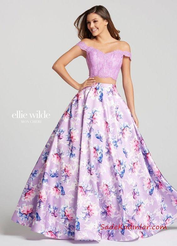 2019 Mor Abiye Modelleri Mor Uzun Iki Parca Straplez Desenli Kabarik Etek Balo Elbiseleri The Dress Mezunlar Gecesi Elbiseleri