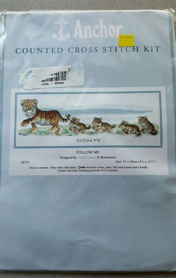 "Cross Stitch Kit Cute Tiger Tigress & Cubs 4.25"" x 11.75"" Follow Me Anchor Coats #Anchor"