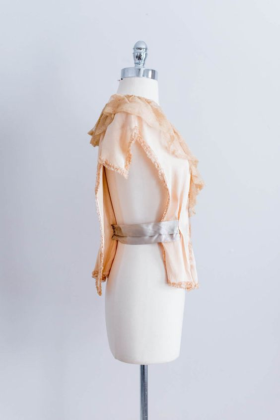 NEW LISTING 1920s French Peach and Cream Silk by EmmelineChic, $288.00