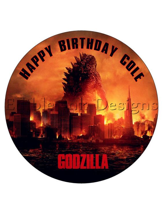 Godzilla - 8 in Round Edible Cake Topper - Free ...