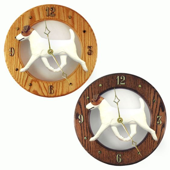 Jack Russell Terrier Wood Wall Clock Plaque Brn/Wht | Our handcrafted dog breed wall clocks are offered in over 100 variations between color, coat, and breed.