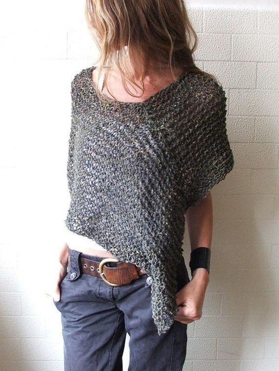 Moss Green Alpaca poncho - a rectangle and a square (for the other shoulder) would make something similar: