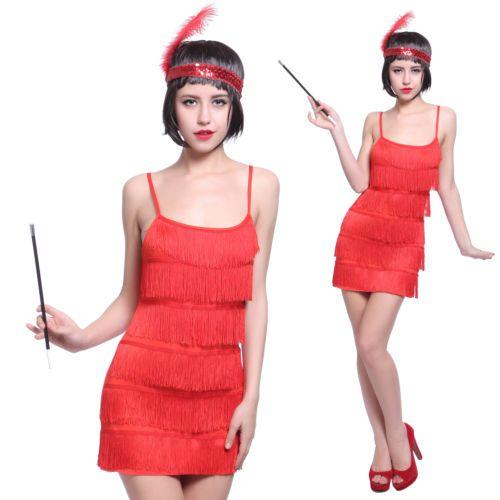 Rot-20er-Jahre-Fransen-Flapper-Kleid-Charleston-Kleider-Tanz-Party-Kopfschmuck