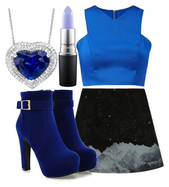 """""""Blue Satin Crop Top"""" by angels-and-ametrines ❤ liked on Polyvore featuring Cameo Rose and MAC Cosmetics"""
