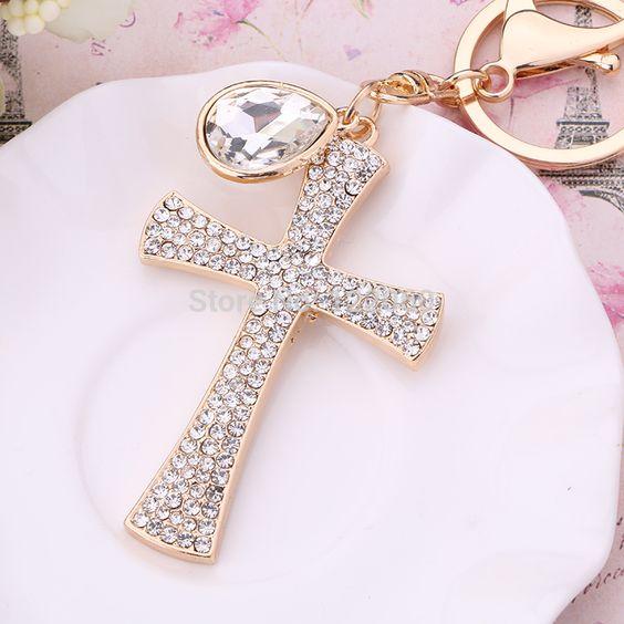 Good Christian Gift Full  Crystal Christian Cross Keyring Keychain Car Decoration Fashion Jewellry
