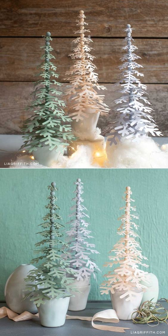 Paper Snowflake Trees For Your Holiday Decor Lia Griffith Xmas Crafts Christmas Projects Diy Christmas Diy