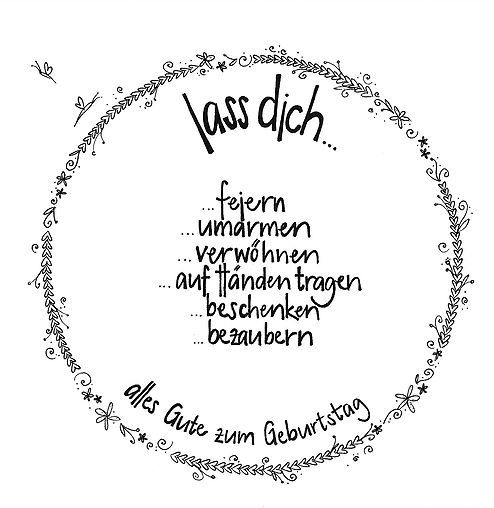 Handgeschriebene Faltkarte Zum Geburtstag Mit Blumenrand Und