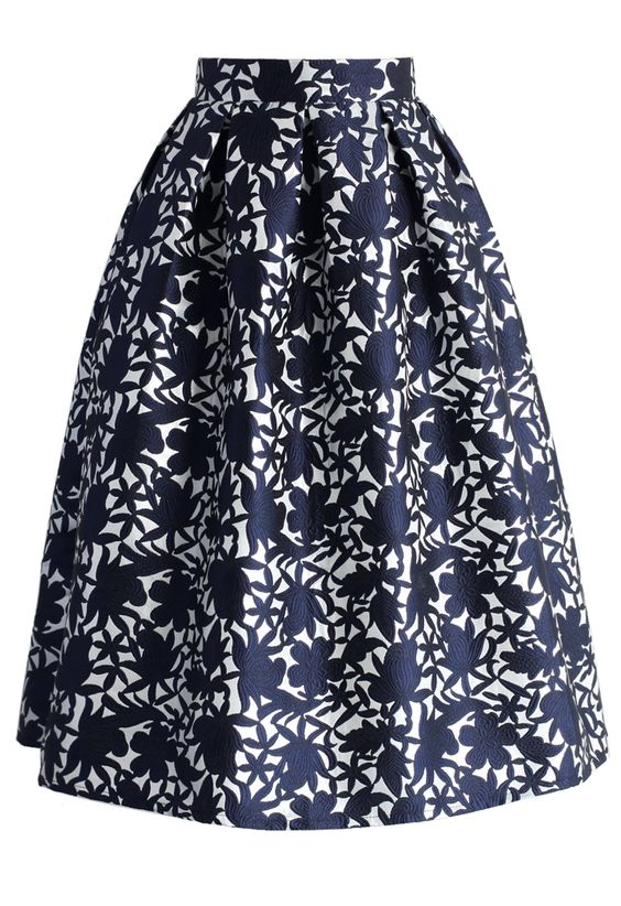 Navy Floral Embossed Midi Skirt - New Arrivals - Retro, Indie and Unique Fashion: