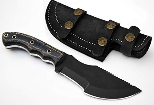Whole Earth Supply 1095 High Carbon Hunting Knife Tracker Knives Sheath Black Powder Micarta D2 Steel Knife Micarta