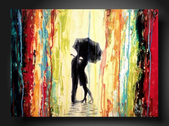 Kissing in the rain! Aw!