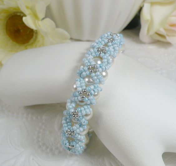 Woven Pearl Bracelet Embellished Light Blue Seed by IndulgedGirl