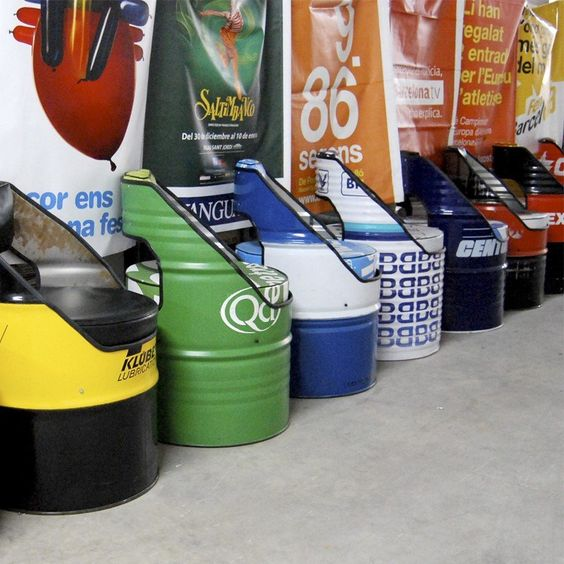 Recycled 50 gallon drums into chairs