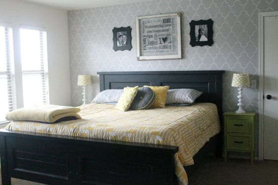 LOVE the frames above the bed in master bedroom!