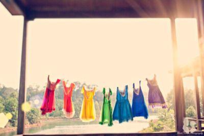 a rainbow of dresses: Wedding Idea, Rainbow Bridesmaids, Three Nails Photography, Bridesmaids Dresses, Rainbow Wedding, Rainbow Bridesmaid Dresses, Clothes Line