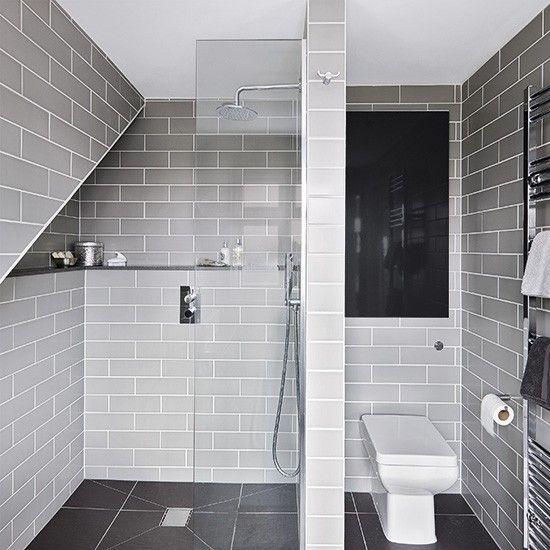 Grey modern wet room with metro tiles bathroom for Metro tiles bathroom ideas