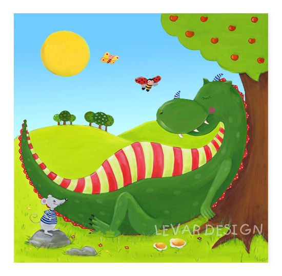 LEVAR DESIGN - Kinderzimmerbild Drache - Mittagsruhe  acrylpainting by levar design