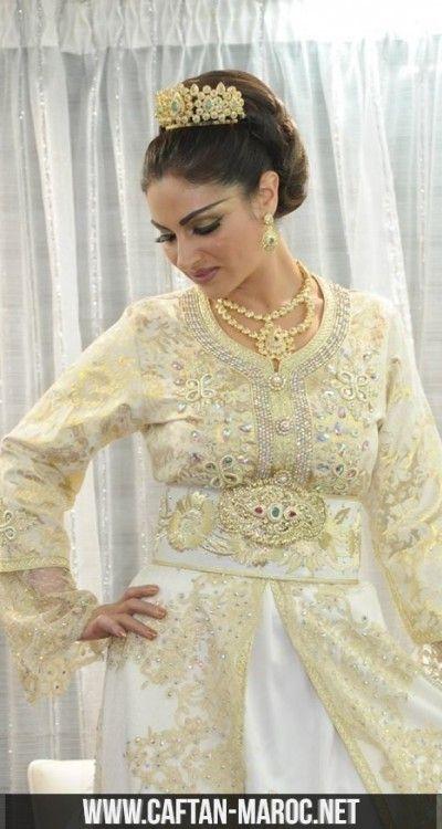 Caftan pour mariee marocaine caftan mariage en brocard for Robe pour mariage cette combinaison bijoux mariee