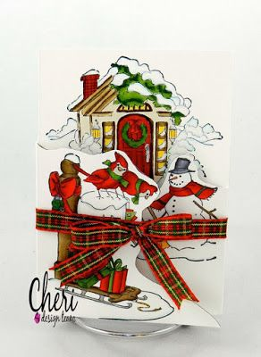 Art Impressions Rubber Stamps: Christmas Scene TF (Sku#4687) Ai TryFolds... handmade card. Christmas, Winter, cardinal, snowman, snowmen, house, cottage, sled