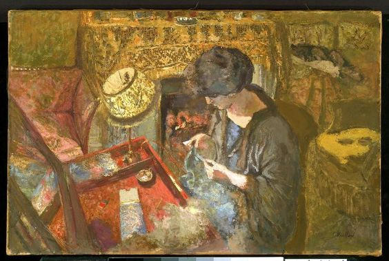 The Small Drawing-Room- Mme Hessel at Her Sewing Table Édouard Vuillard