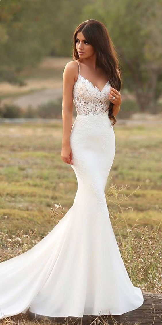 22 Mermaid Wedding Dresses To Excite You Mrs To Be Spaghetti Strap Wedding Dress Wedding Dress Trends Wedding Dress Guide