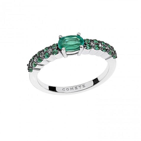 Anello in oro bianco con diamanti e smeraldi #CometeGioielli _ Collezione Armonia  ANB 1745