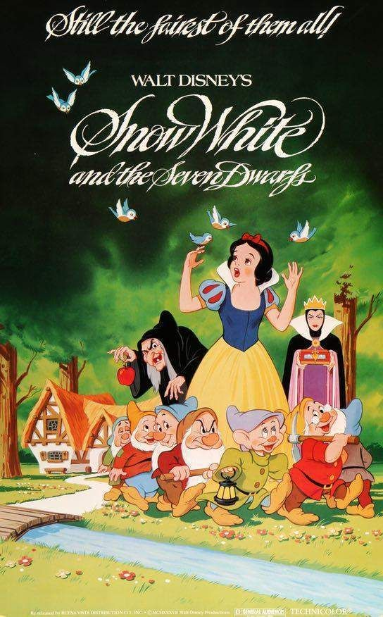 1937 Disney cartoon movie poster print  7 Snow White and the Seven Dwarfs