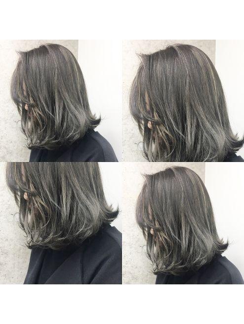 シマ ギンザ アネックス Shima Ginza Annex 白っぽく抜いたハイライトカラー オリーブグレー 黒髪のヘアスタイル グレー ヘアカラー オリーブ ヘアカラー