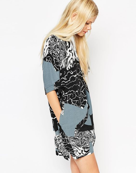 Textile Federation for ASOS T-shirt Dress in Monochrome Print