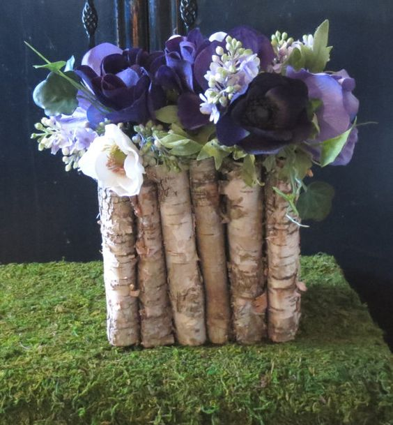 Birch bark vase natural wedding bridal shower rustic wood