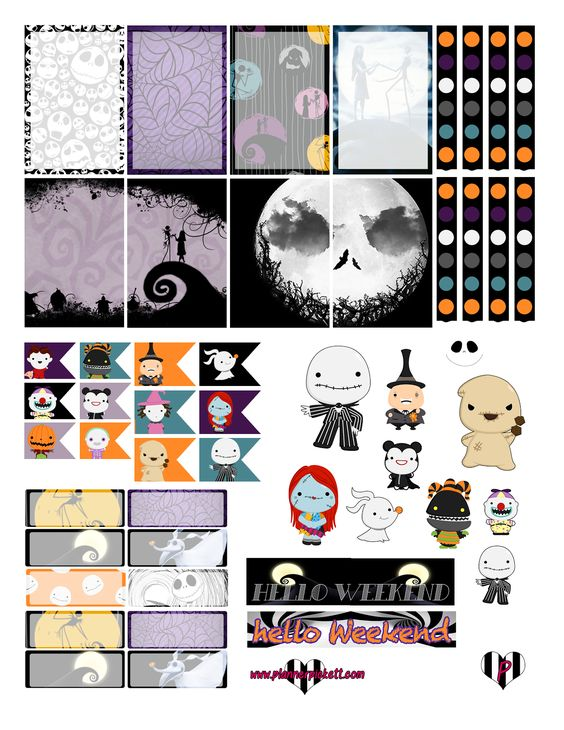 @planner.PICKETT: Nightmare Before Christmas FREE halloween Planner Sticker Printable: