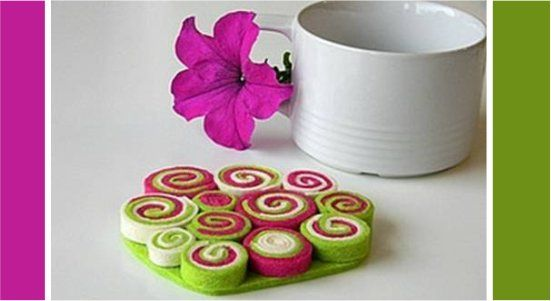 Foto: Useful Diy  descanso de panela de felt